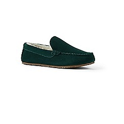 Lands' End - Green suede moccasin slippers