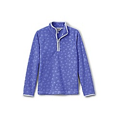 Lands' End - Girls' purple embossed fleece half-zip pullover