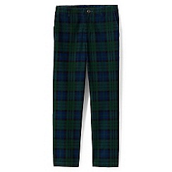Lands' End - Boys' green iron knee plaid cadet trousers