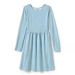 Lands' End - Blue girls gathered waist jersey dress