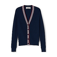 Lands' End - Blue girls' long sleeved v-neck rib cardigan
