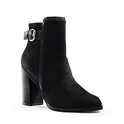 Lands' End - Black side-buckle suede ankle boots