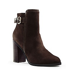 Lands' End - Brown side-buckle suede ankle boots