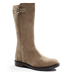 Lands' End - Beige girls' suede buckle boots