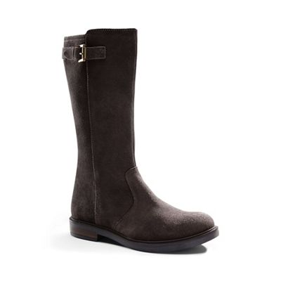 Lands' End - Brown girls' suede buckle boots