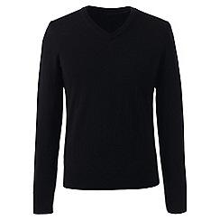 Lands' End - Black regular merino v-neck sweater