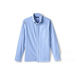 Lands' End - Blue tailored fit patterned sail rigger Oxford shirt