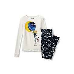 Lands' End - Girls' white snug fit graphic pyjama set