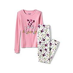 Lands' End - Beige girls' snug fit graphic pyjama set