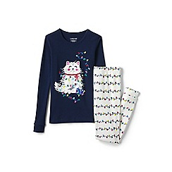 Lands' End - Blue girls' snug fit graphic pyjama set