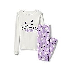 Lands' End - White girls' snug fit graphic pyjama set