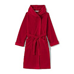 Lands' End - Boys' red plain fleece dressing gown
