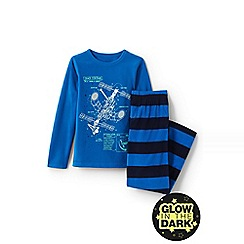 Lands' End - Boys' blue fleece pyjama set