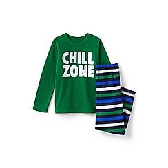 Lands' End - Green boys' fleece pyjama set
