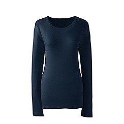 Lands' End - Blue plus long sleeves cotton rib crew neck t-shirt