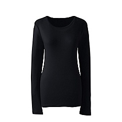 Lands' End - Black plus long sleeves cotton rib crew neck t-shirt