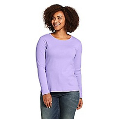 Lands' End - Purple Plus Long Sleeve Cotton Rib Crew Neck T-Shirt