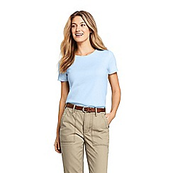 Lands' End - Blue Regular Cotton Rib Crew Neck T-Shirt