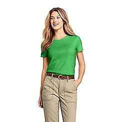 Lands' End - Green Regular Cotton Rib Crew Neck T-Shirt