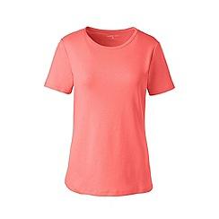 Lands' End - Orange Plus Short Sleeve Cotton Rib Crew Neck T-Shirt