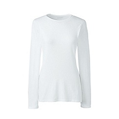Lands' End - White long sleeve cotton/modal crew neck tee