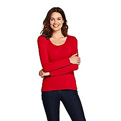 Lands' End - Red long sleeve cotton/modal scoop neck tee