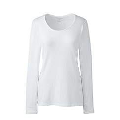 Lands' End - White long sleeve cotton/modal scoop neck tee