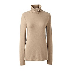 Lands' End - Beige plus cotton/modal roll neck top