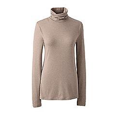 Lands' End - Brown plus cotton/modal roll neck top