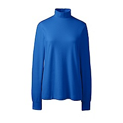 Lands' End - Blue regular long sleeves polo neck top