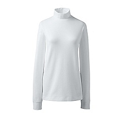 Lands' End - White regular long sleeves polo neck top