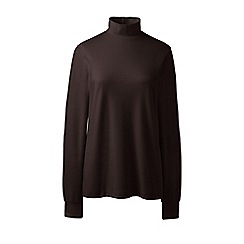 Lands' End - Brown plus long sleeve polo neck top