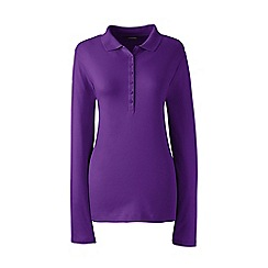 Lands' End - Purple regular long sleeves pima polo t-shirt