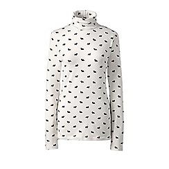 Lands' End - White plus cotton/modal print roll neck top