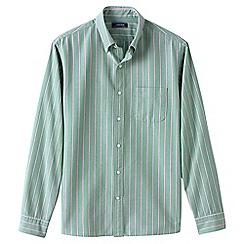 Lands' End - Green regular traditional fit patterned sail rigger Oxford shirt