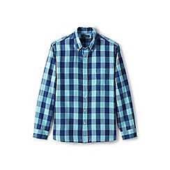 Lands' End - Blue regular traditional fit patterned sail rigger Oxford shirt