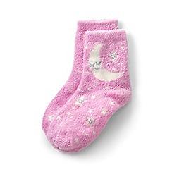 Lands' End - Girls' pink cosy slipper socks