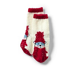 Lands' End - Cream girls' cosy slipper socks