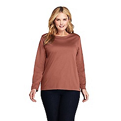 Lands' End - Brown plus supima long sleeves crew neck t-shirt
