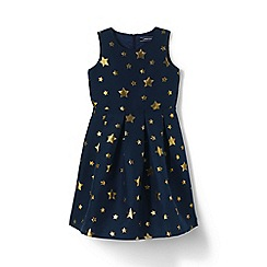 Lands' End - Girls' blue jacquard party dress
