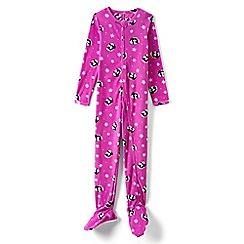 Lands' End - Girls' pink fleece onesie