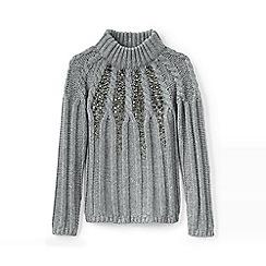 Lands' End - Grey girls' embellished long sleeve cable funnel neck