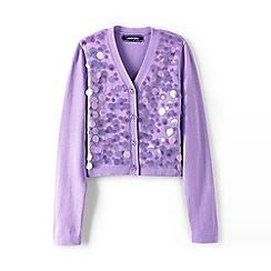 Lands' End - Girls' purple sparkle v-neck sophie cardigan