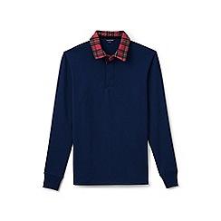 Lands' End - Blue flannel collar rugby shirt