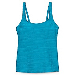 Lands' End - Blue regular textured scoop neck tankini top