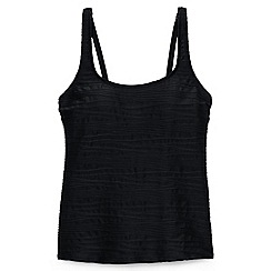 Lands' End - Black d-cup textured scoop neck tankini top