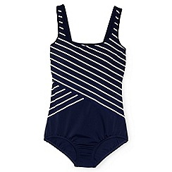 Lands' End - Blue regular tugless soft cup striped spliced swimsuit