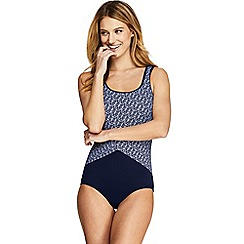Lands' End - Blue Long Tugless Soft Cup Striped Spliced Swimsuit
