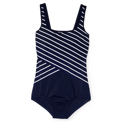 6fc3fca9825d7 Lands  End Blue plus tugless soft cup striped spliced swimsuit ...