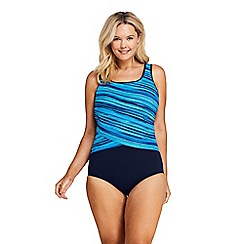 Lands' End - Blue Plus Tugless Soft Cup Striped Spliced Swimsuit